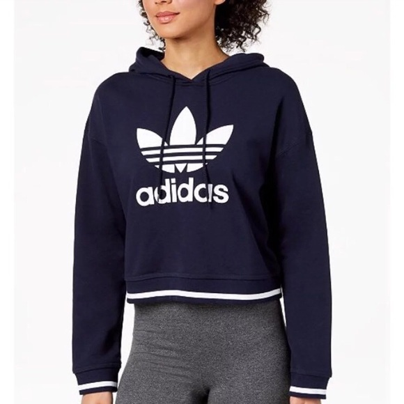 f8cb10c039d81f Adidas Tops | Women Cropped Hoodie Pullover Sweatshirt | Poshmark